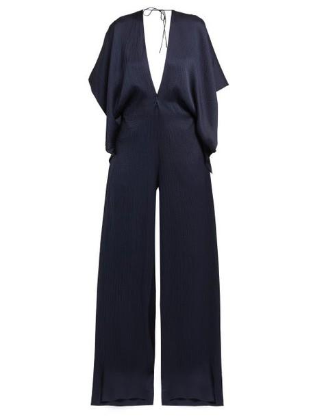 Roland Mouret - Auclair Wide Leg Hammered Silk Jumpsuit - Womens - Navy