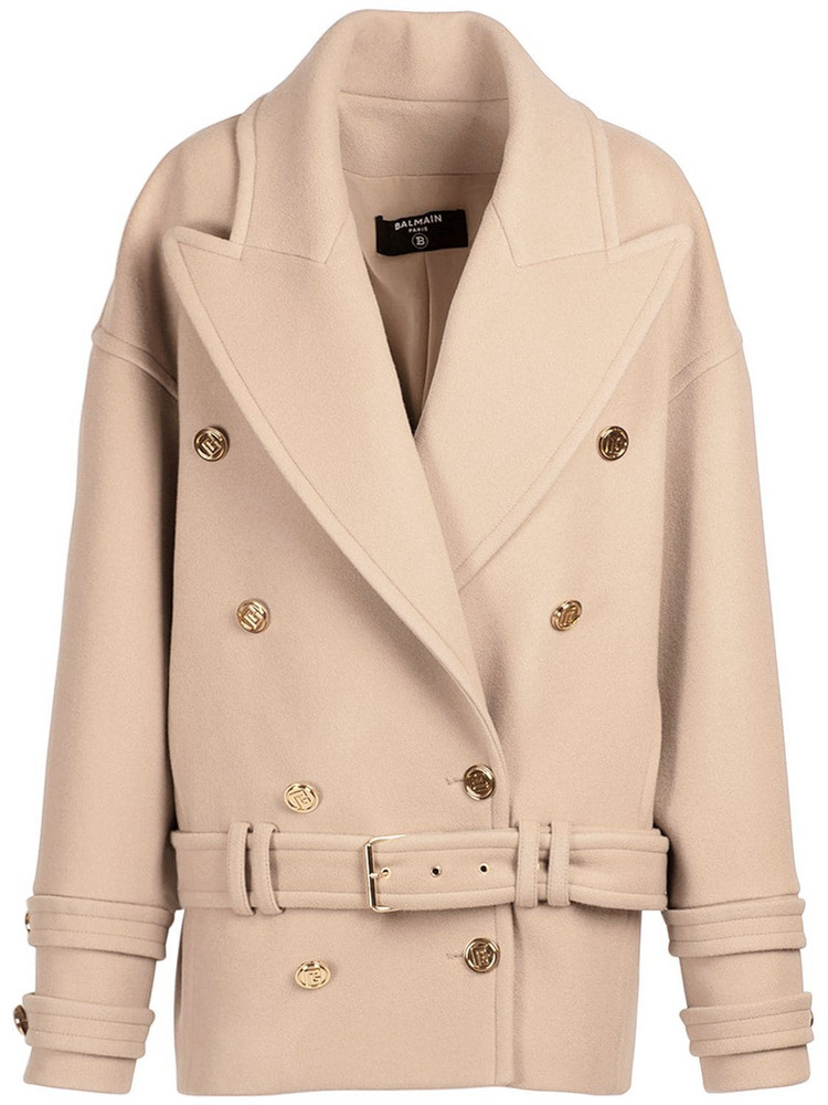BALMAIN Belted Wool & Cashmere Coat in camel