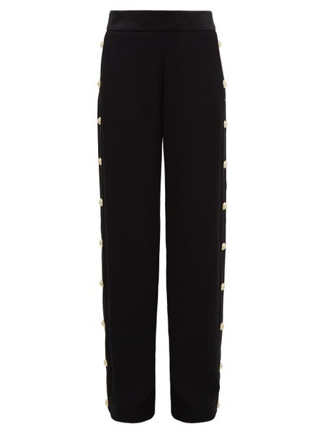 Balmain - Buttoned Crepe Wide Leg Trousers - Womens - Black
