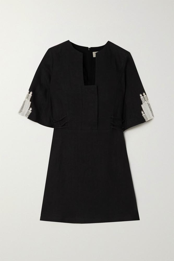 ZEUS + DIONE ZEUS + DIONE - Dokos Embroidered Linen Mini Dress - Black