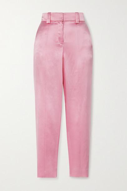 BALMAIN - Silk-satin Straight-leg Pants - Pink