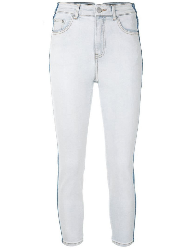 PortsPURE cropped contrast jeans in blue