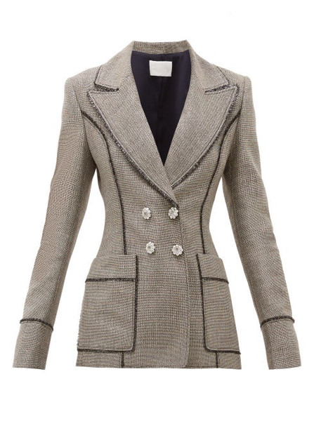 Peter Pilotto - Double Breasted Lamé Tweed Blazer - Womens - Silver Multi