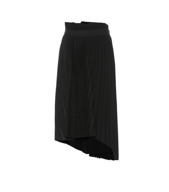 Balenciaga Asymmetric pleated midi skirt in black