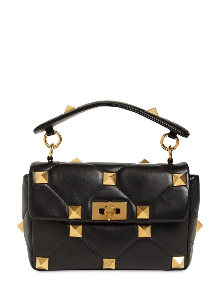 VALENTINO GARAVANI Medium Roman Stud Leather Shoulder Bag in black