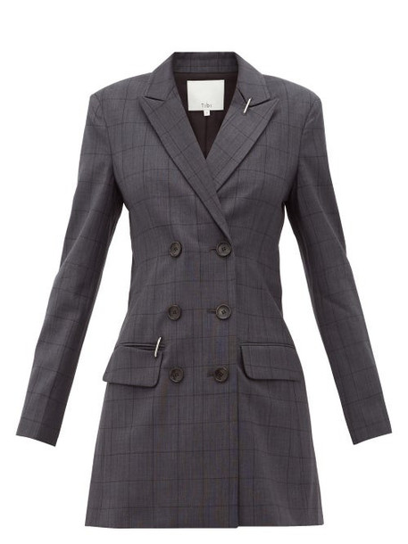 Tibi - Windowpane Check Blazer Dress - Womens - Dark Grey