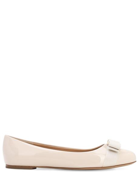 SALVATORE FERRAGAMO Varina Patent Leather Ballerinas in white