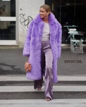 pants,flare pants,silk,high waisted pants,pumps,faux fur coat,purple,handbag,chanel bag,top