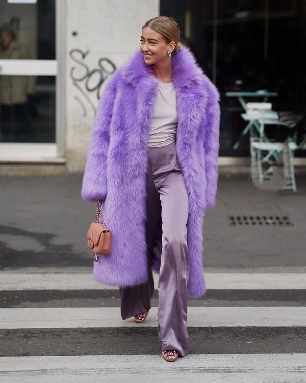pants flare pants silk high waisted pants pumps faux fur coat purple handbag chanel bag top