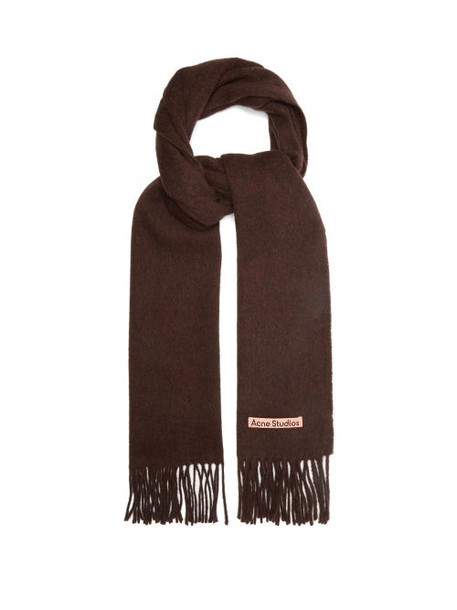 Acne Studios - Canada Narrow New Fringed Wool Scarf - Womens - Brown