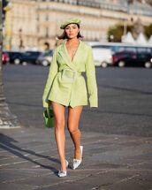 dress,blazer dress,pumps,beret,bucket bag