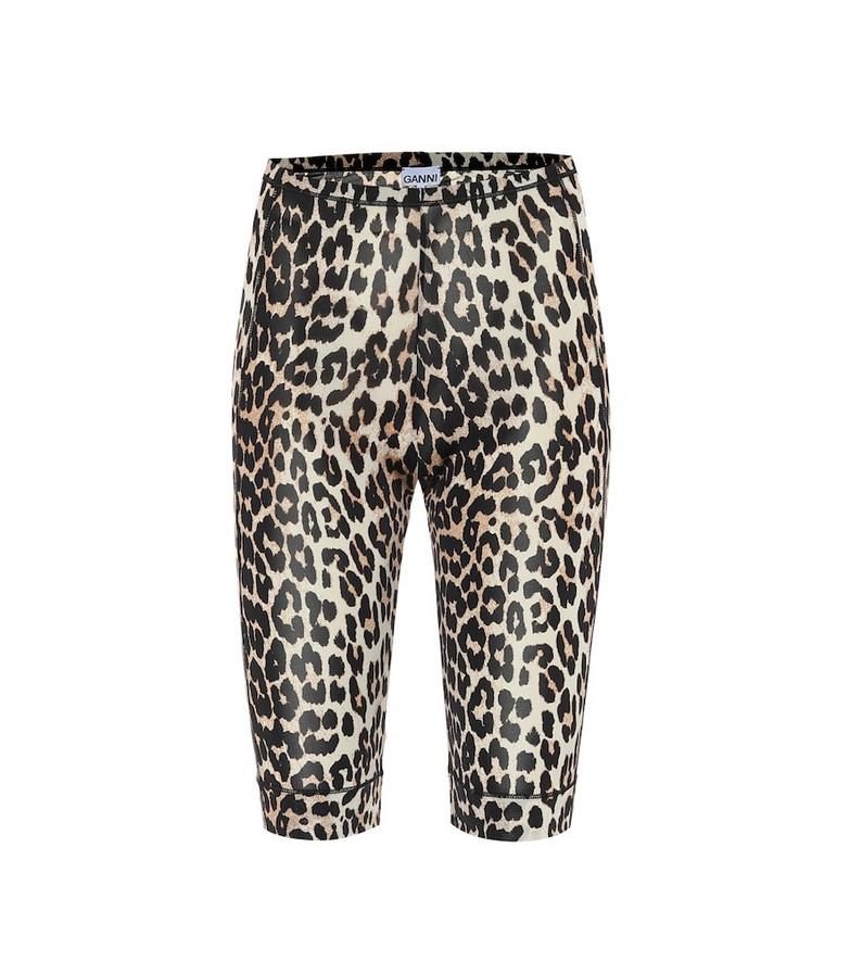 Ganni Leopard-print biker shorts in brown