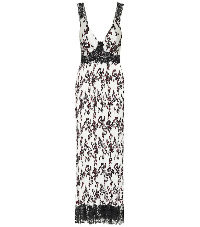 Paco Rabanne Lace-trimmed floral satin dress in white