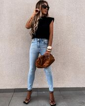 jeans,skinny jeans,high waisted jeans,black sandals,tank top,bag