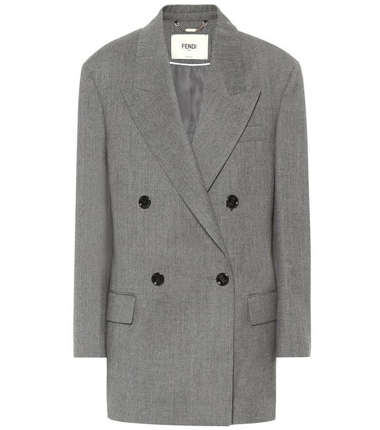Fendi Wool flannel blazer in grey