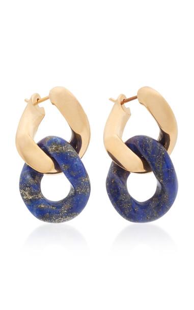 Bottega Veneta Gold-Plated Silver and Lapis Lazuli Earrings in blue
