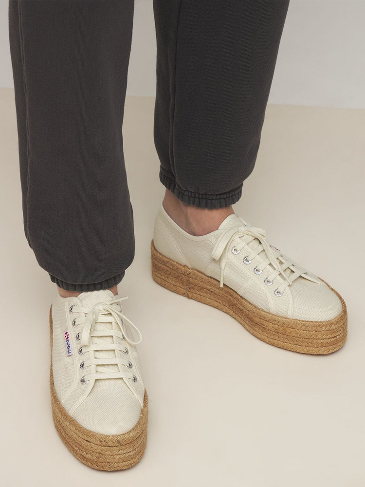 SUPERGA 40mm Canvas Platform Sneakers in beige