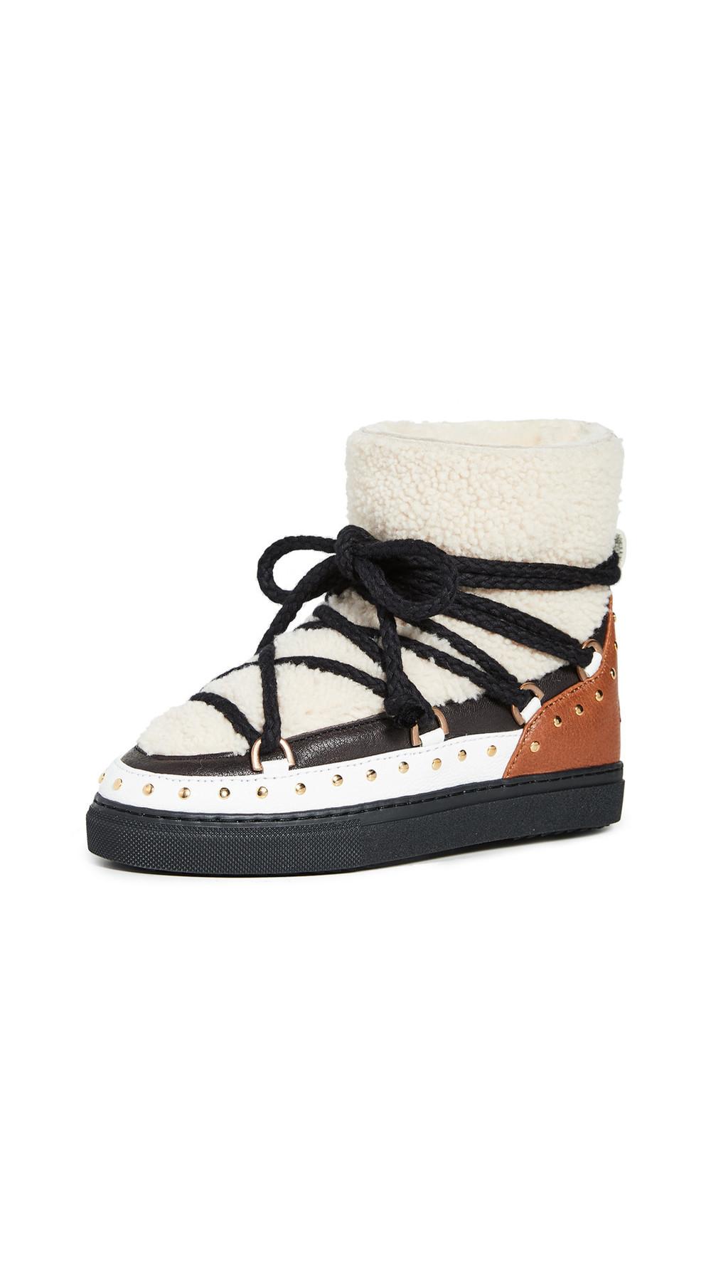 Inuikii Curly Rock Shearling Sneakers in cream