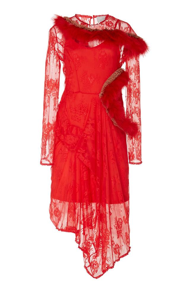 Preen by Thornton Bregazzi Jeane Embellished Lace Midi Dress in red