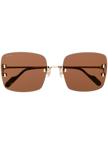 Cartier Eyewear C Décor rimless square-frame sunglasses in gold