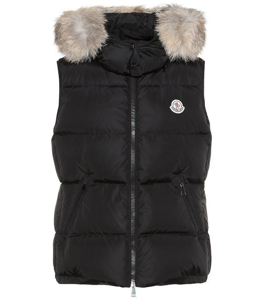 Moncler Gallinule fur-trimmed down vest in black