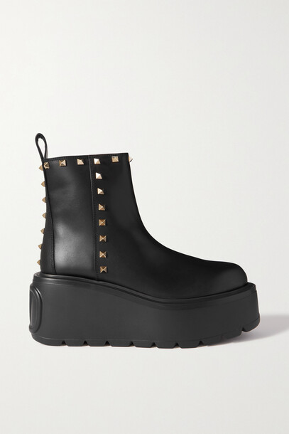 Valentino - Valentino Garavani Rockstud Vlogo 85 Leather Platform Chelsea Boots - Black