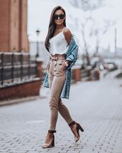 jeans,suede pants,high waisted pants,sandal heels,white top,denim jacket