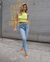 jeans,high waisted jeans,skinny jeans,turtleneck,sleeveless,sandal heels