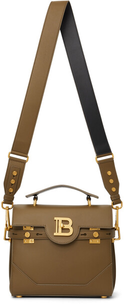 Balmain Khaki B-Buzz 23 Shoulder Bag