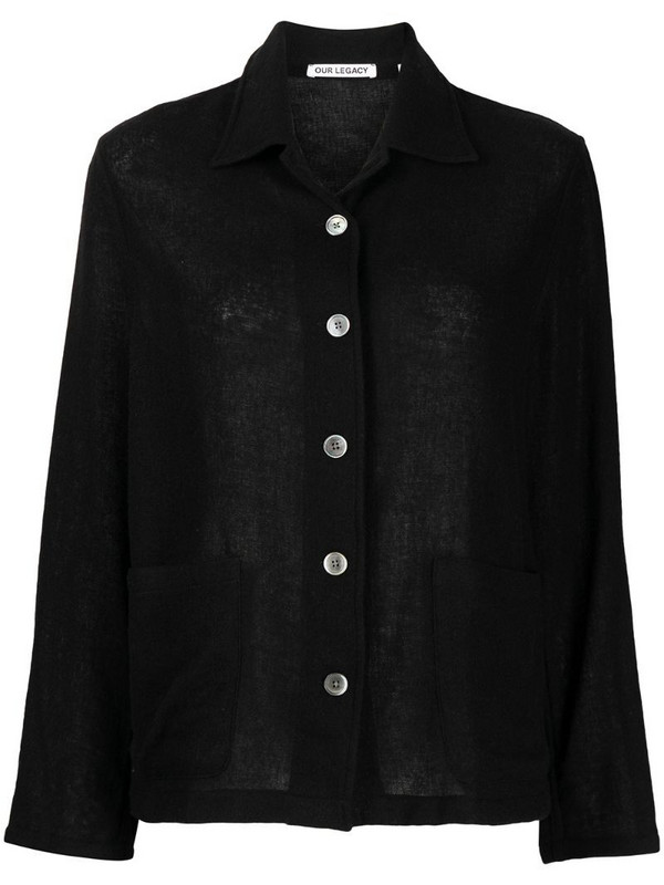 Our Legacy knitted classic-collar shirt in black