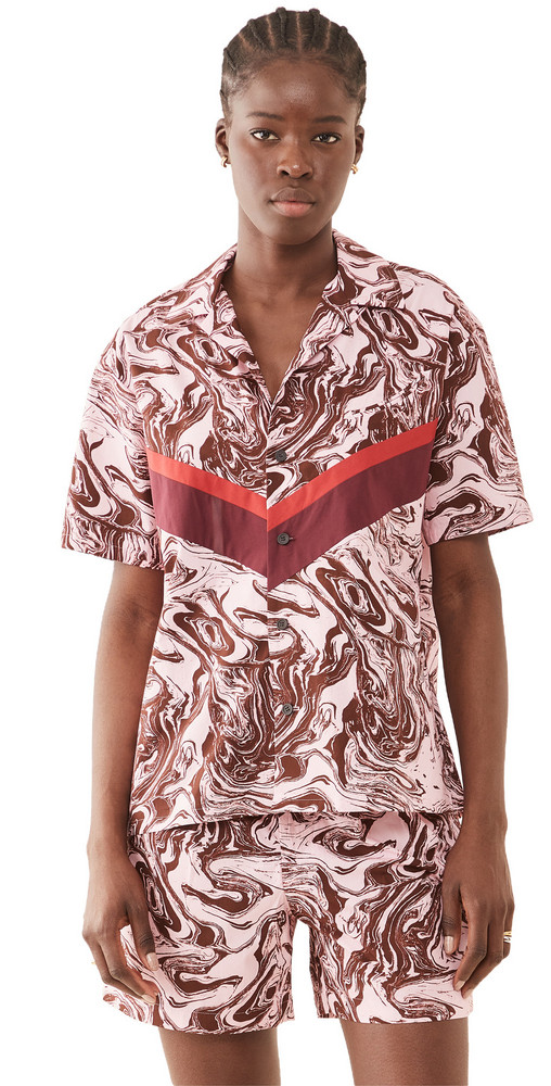 Toga Pulla Marble Print Cotton Shirt in pink