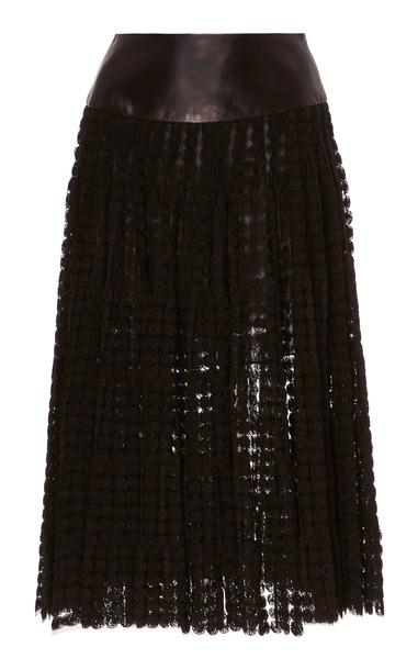 SOONIL Haze Tulle Pleated Skirt Size: 0 in black