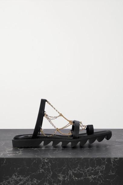 Sacai - Chain-embellished Leather Sandals - Black