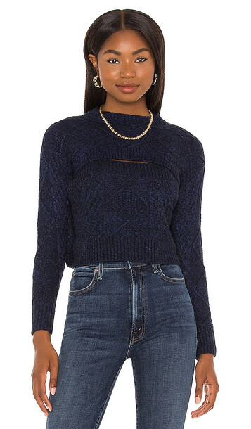 Central Park West Charlize Cut-Out Sweater in Navy