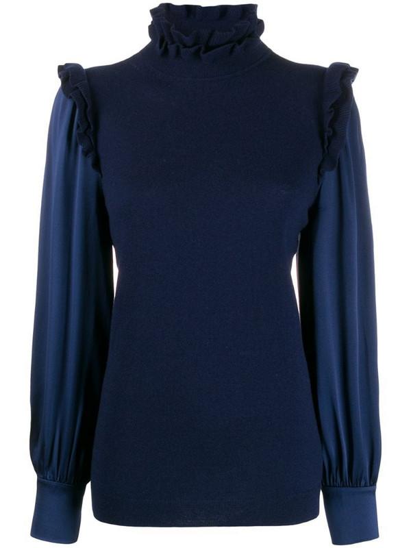 Teija frill-trim long sleeve jumper in blue