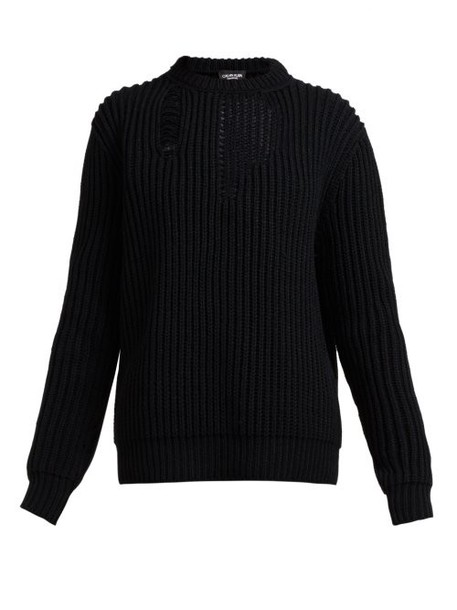 Calvin Klein 205w39nyc - Distressed Ribbed Knit Sweater - Womens - Black