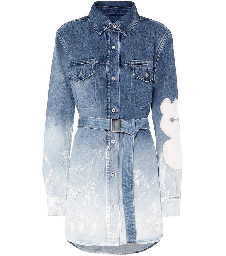 Off-White Belted denim shirt dress in blue