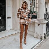 jacket,pants,skinny pants,vinyl,pumps,plaid blazer,bag