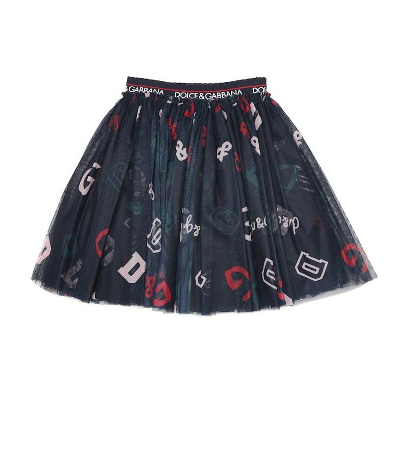 Dolce & Gabbana Kids Printed tulle skirt in blue