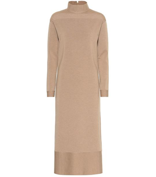 Agnona Wool-blend midi dress in beige