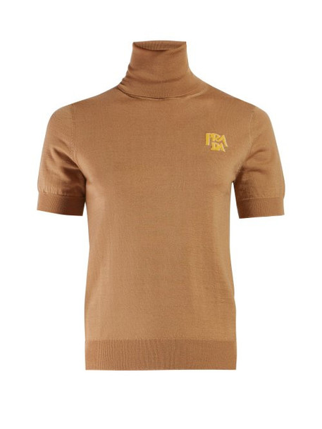 Prada - Logo Intarsia Roll Neck Sweater - Womens - Camel