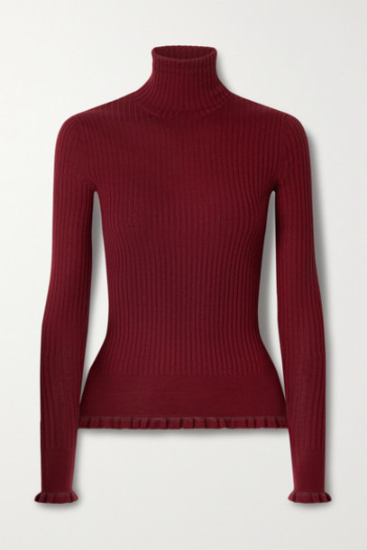 The Row - Arzino Ruffled Ribbed Cashmere And Silk-blend Turtleneck Sweater - Red