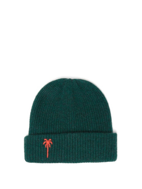 The Elder Statesman - Palm Tree-embroidered Wool Beanie Hat - Womens - Green Multi
