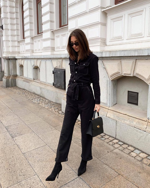 jumpsuit black jumpsuit long sleeves black boots sock boots black bag handbag