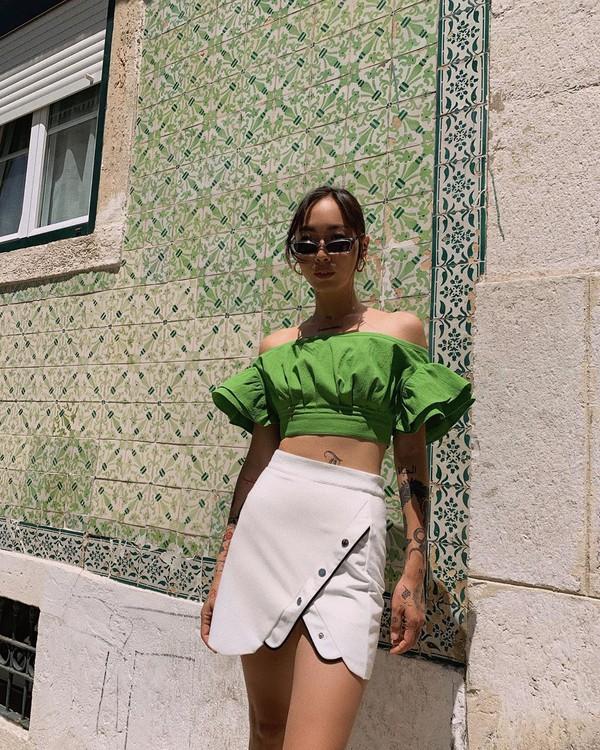 top crop tops off the shoulder top white skirt high waisted skirt wrap skirt