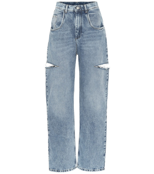 Maison Margiela Cut-out high-rise wide-leg jeans in blue