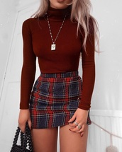 skirt,maroon burgundy and blue,burgundy plaid,red,black,plaid skirt,sweater,turtleneck sweater,red and blue