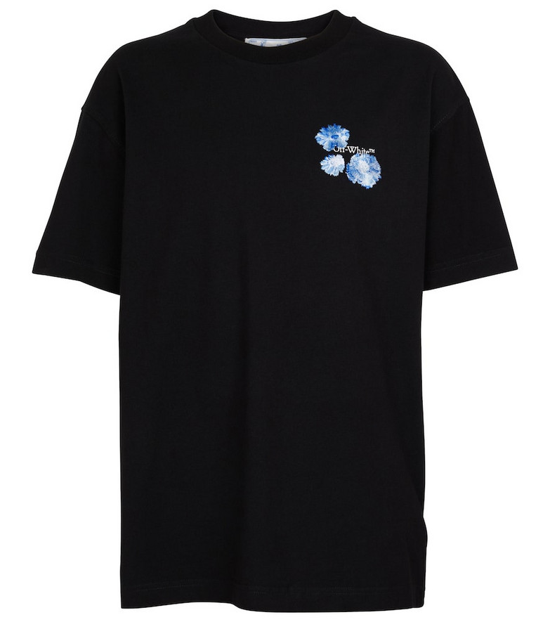 Off-White Embroidered-logo cotton T-shirt in black