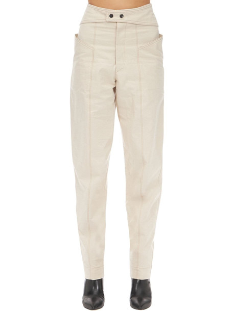 ISABEL MARANT Lixy High Waist Cotton Canvas Pants in beige