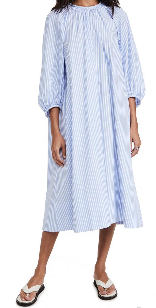 Tibi Awning Shirred Neck Dress in blue / multi